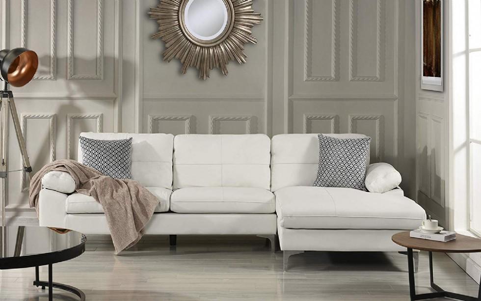 Kodu: 8037 - Köşe Koltuk Takımı Modern Tasarım Beyaz Renkli