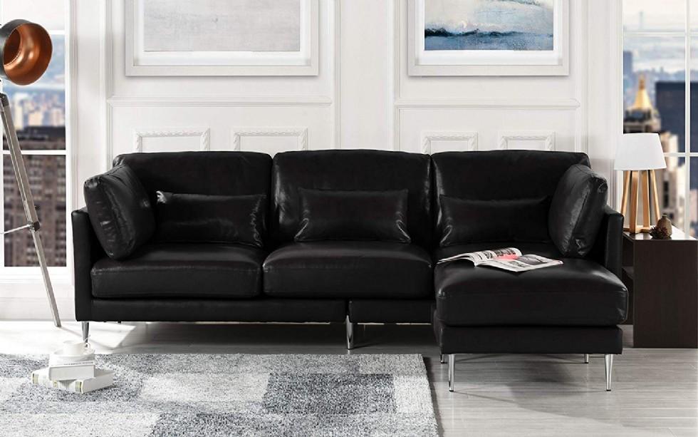 Kodu: 3150 - Modern Deri Futon Köşe Koltuk Takımı Siyah Renk Şezlonglu