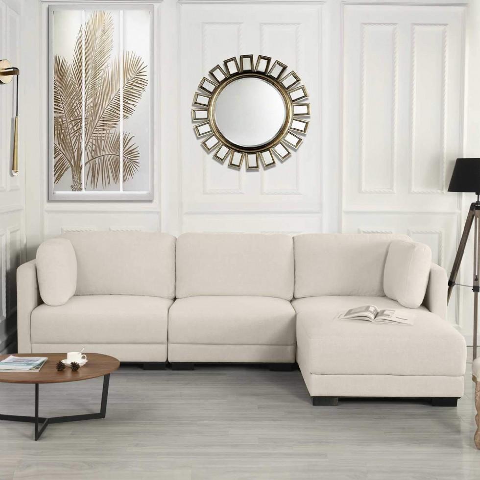 Kodu: 3152 - Modern L Köşe Koltuk Takımı Bej Şezlong Yataklı Modern Oturma Odası Köşe Koltuk