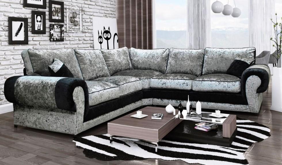 Kodu: 8075 - Siyah Gri Kadife Köşe Koltuk Takımı Luxury Tasarım
