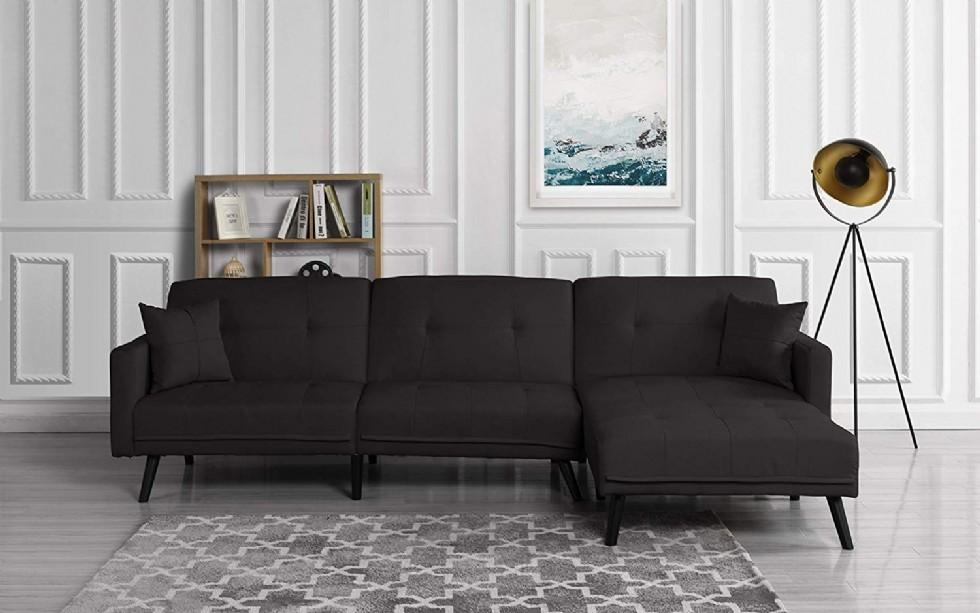 Kodu: 3154 - Siyah Modern L Köşe Koltuk Takımı Oturma Odası Yatak Şezlonglu Futon Köşe Takımı