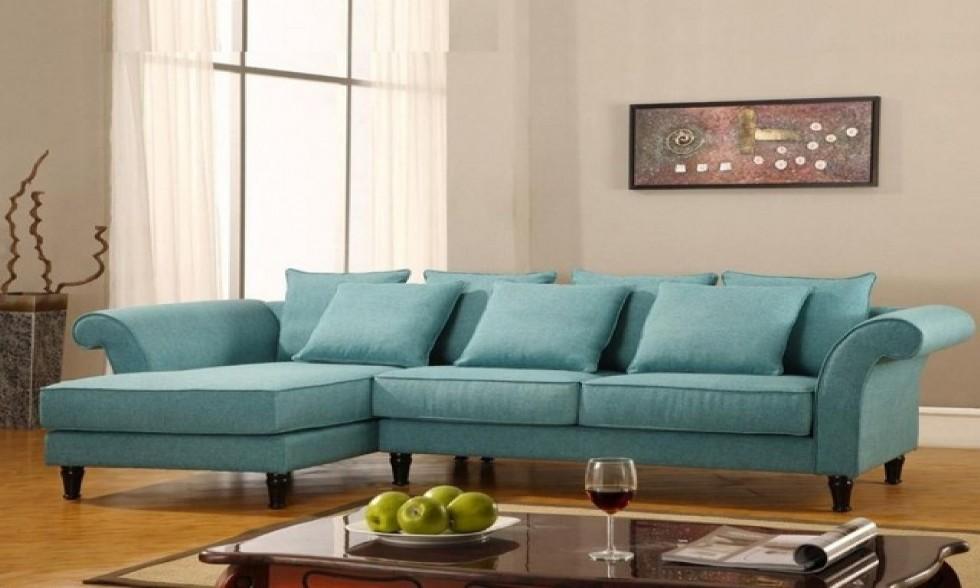 Kodu: 2544 - Turkuaz Mavisi Dekoratif Kol Tasarımı Modern Köşe Koltuk Takımı