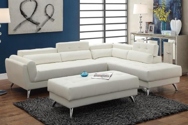 Beyaz Ultra Modern L Köşe Takımı Puflu