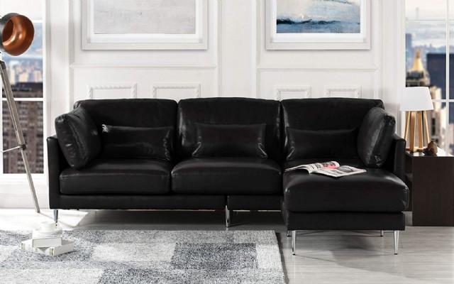 Modern Deri Futon Köşe Koltuk Takımı Siyah Renk Şezlonglu