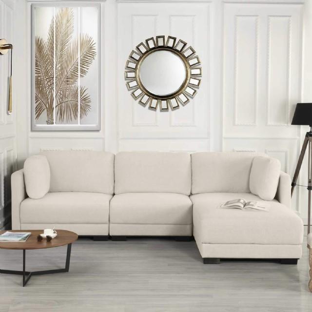 Modern L Köşe Koltuk Takımı Bej Şezlong Yataklı Modern Oturma Odası Kö