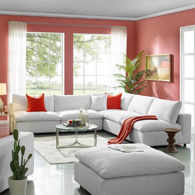 Modern Rahat Beyaz Köşe Koltuk Takımı Kırmızı Kırlentli