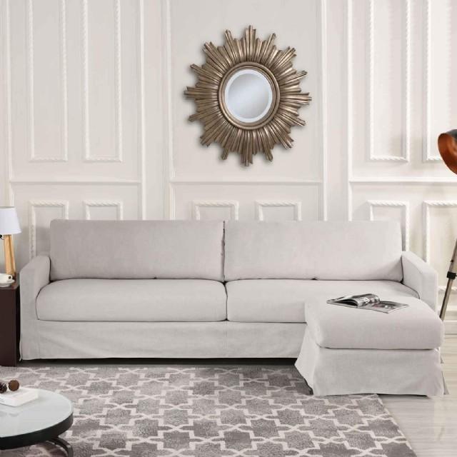 Oturma Odası Köşe Koltuk Takımı Dokuma Keten Kumaş Bej Renk