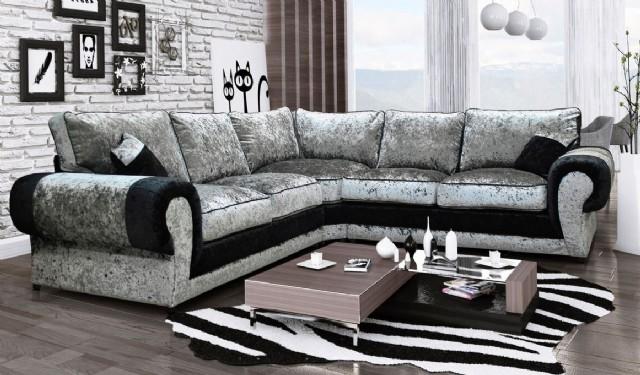 Siyah Gri Kadife Köşe Koltuk Takımı Luxury Tasarım