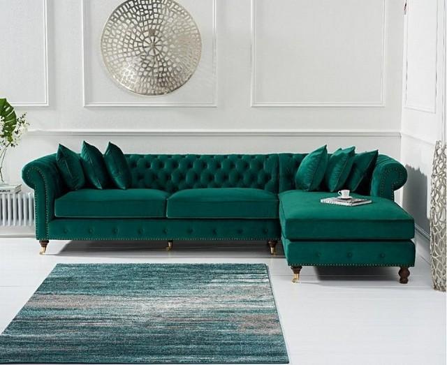 Yeşil Kadife Modern Köşe Koltuk Takımı Modern Chester Modeller
